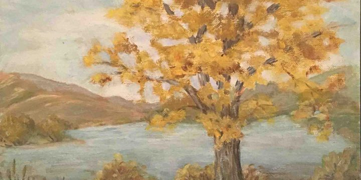 Miriam (Mim) Warlock, Cottonmill Lake near Kearney, Nebraska, oil on board, 1969