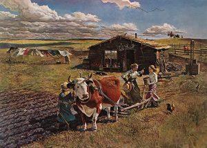 John Falter, New Land- Old Land, lithograph, 1974-1975