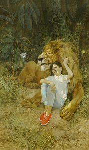 John Falter, Illustration for The Lion, tempera on illustration board, n.d.