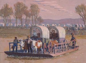 John Falter,Mormons Crossing the Missouri at Council Bluffs, 1850, tempera