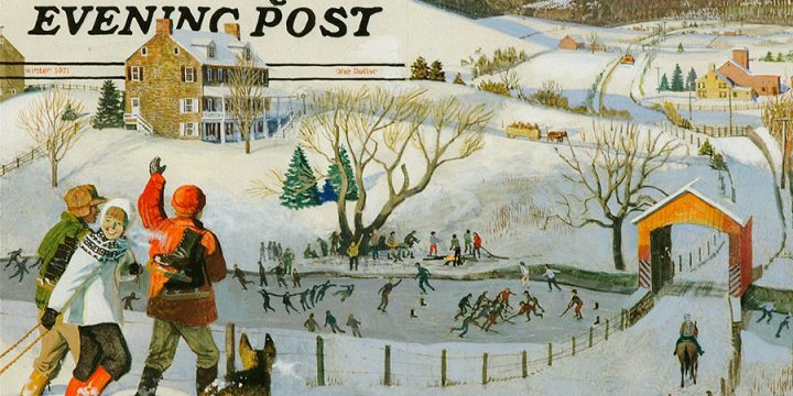 Falter, Illustration for The Saturday Evening Post cover, Ice Skating in the Country, Winter 1971, tempera on paper, 1971