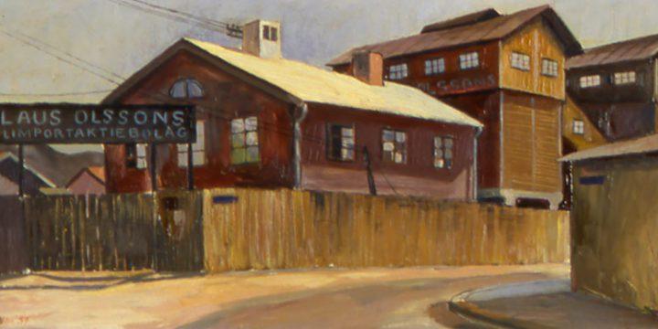 Leonard Thiesson, Stockholm Coal Yard, oil on masonite, 1937