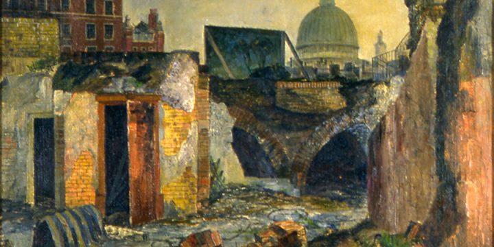Leonard Thiessen, St. Paul's Across Holborn , oil on board, 1950