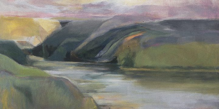 Isabella Byrne Threlkeld, Elkhorn River, oil on unprimed canvas, c. 1988-1989