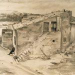 Leonard Thiessen, Istres, B. duRhone (village view, sketch #1), graphite, c. 1932