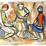 Leonard Thiessen, Untitled (study for three seated figures), watercolor, ink, n.d.