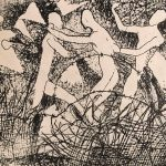 Leonard Thiessen, Unknown (four figues with barbed wire), monoprint, n.d.
