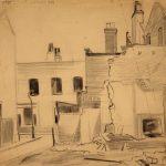 Leonard Thiessen, Oke Lane Limehouse E.14, graphite, study sketch, n.d.