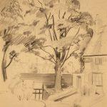 Leonard Thiessen, Untitled (park view), graphite, 1945