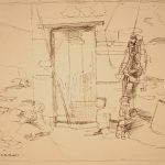 Leonard Thiessen, Bait Shed , Polruan by Forney, ink on paper, n.d.