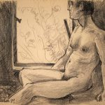 Leonard Thiessen, Untitled (male nude), graphite on paper (study sketch), 1979