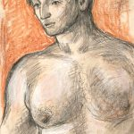 Leonard Thiessen, Untitled (man, tan background), graphite, crayon, watercolor, n.d.
