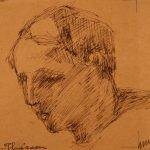Leonard Thiessen, Head study, ink, n.d.
