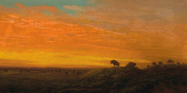 Cyrenius Hall, Buffalo Sunset, oil on board, c. 1850s