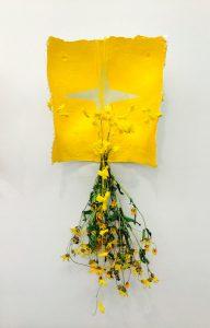 Medicine Wheel 4, plaster, acrylic, prayer ties, flowers; 2015, Collection of the Artist