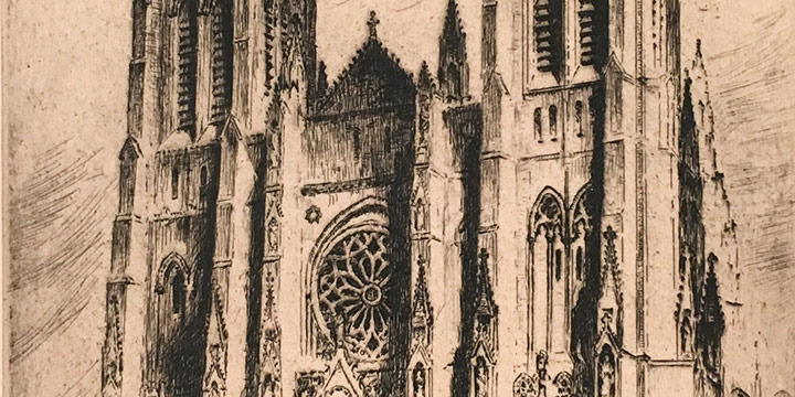 Nat Lowell, Untitled (St. John the Divine, New York), etching, n.d.