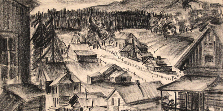 Katherine (Kady) Burnap Faulkner, Gold Hill, charcoal, 1941
