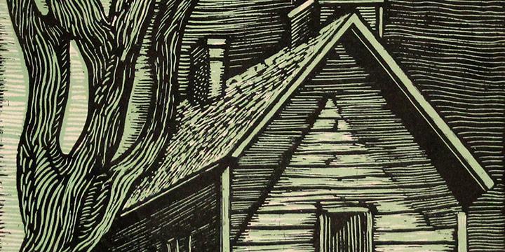Morris Gorden, Untitled (church), woodcut print, 1937