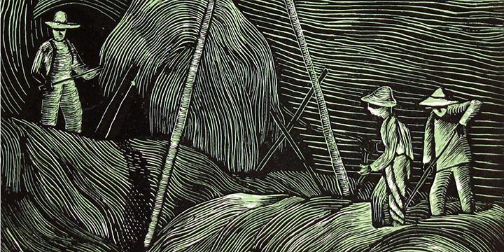 Morris Gorden, Untitled (hay wagon), woodcut print, 1937