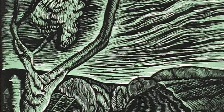Morris Gordon, Untitled (landscape), woodcut, 1937