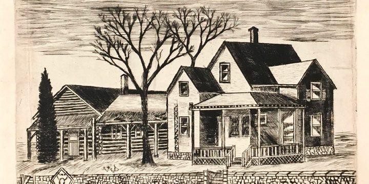 Nicholas George Arouni, Charles M. Russell Studio & Home, etching (7/50), n.d.