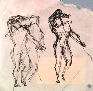 Emery Abraham (Donald) Forbes, Three Standing Figures, ink, n.d.