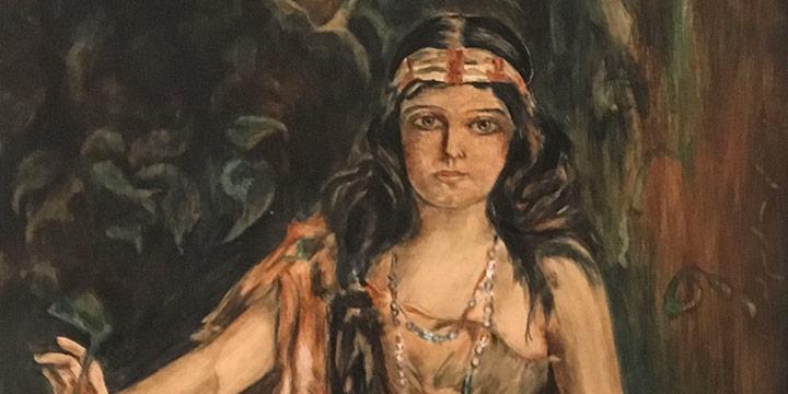 Velma Fees Fairchild, Pocahantas (Pocahontas), watercolor, n.d.