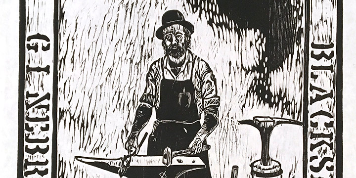 Dan Kirchhefer, The Blacksmith, woodcut, n.d.