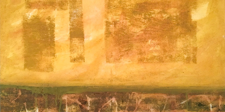 Larry Johnson, Untitled (yellow), watercolor on rice paper