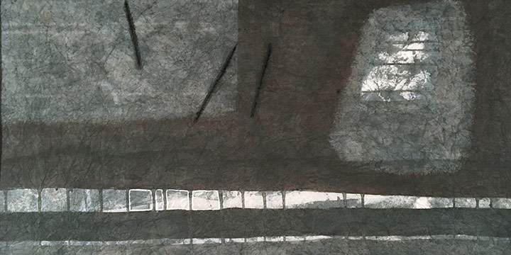 Larry Johnson, Untitled (gray), watercolor on rice paper
