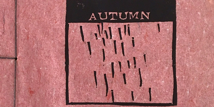 Brian Curling, Autumn, artist book: linocut (13/70) in collaboration with Twyla Hansen, 2004