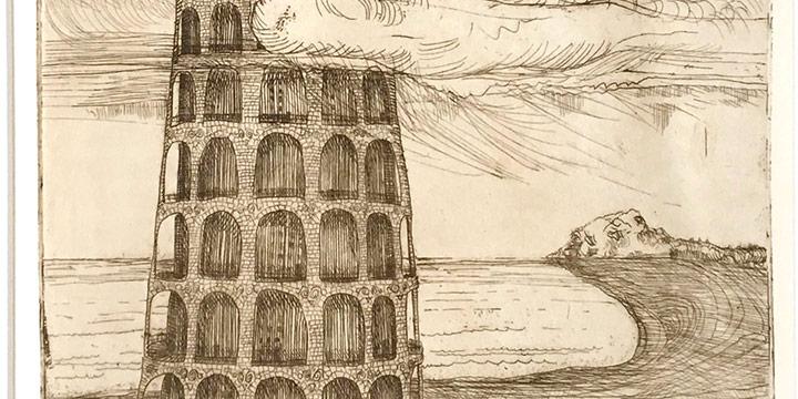 Arthur Geisert, Tower of Babel #1, intaglio (proof), 1971