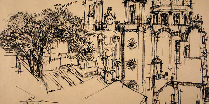 Rudy Pozzatti, The Church of Santa Prisca, Taxco, ink, 1957