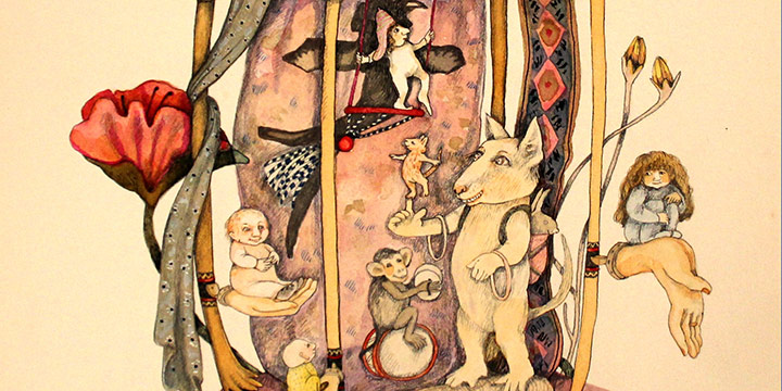 Ruth Rosekrans Hoffman, Untitled (horse with fantasy figures), mixed media, 1981