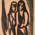 Freda Spaulding, Untitled (two figures), ink, 1956