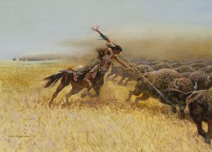 John Falter, Mandan Hunter, oil on canvas, 1979