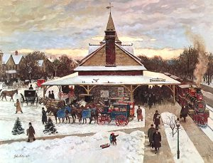 John Falter, Chestnut Hill Station, photolithograph with two remarque sketches, n.d.