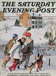 John Falter, The Saturday Evening Post Ice Skating in the Country, Winter 1971, magazine cover, 1971