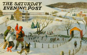 John Falter, Illustration for The Saturday Evening Post cover, Ice Skating in the Country, Winter 1971, tempera on paper, 1971