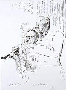 John Falter, Jazz from Life - Bob Wilbur & Bud Freeman, lithograph, 1971