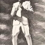 """John Falter, Jazz from Life - """"Peanuts"""" Hucko, lithograph, 1971"""