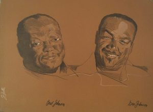 John Falter, Jazz from Life - Bud Johnson & Gus Johnson, lithograph, 1971