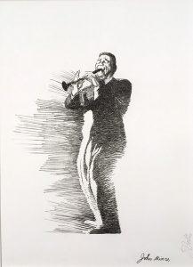 John Falter Jazz from Life – John Mince, lithograph, 1971
