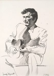 Jazz from Life - Bucky Pizzarelli, lithograph, 1971