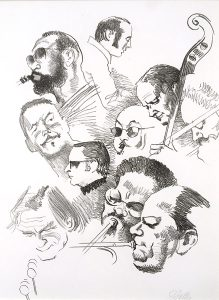 John Falter, Jazz from Life - Collage of 10 Musicians, lithograph, 1971