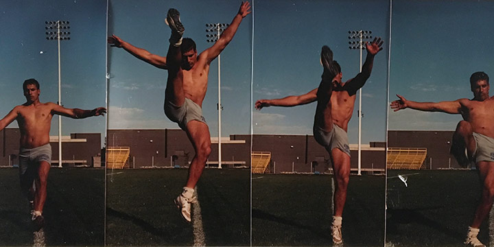 John Raimondi, Athleta Photo Study - place kicker, series of 4, color photograph, 1990