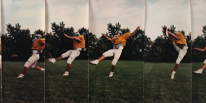 John Raimondi, Athleta Photo Study - place kicker, series of 6, color photograph, 1990