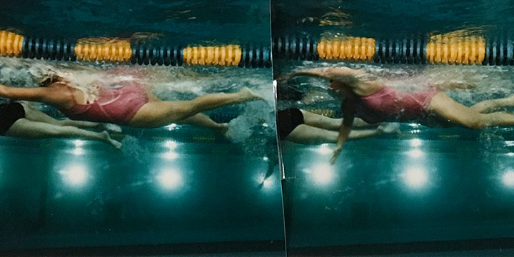 John Raimondi, Athleta Photo Study - swimmer, series of 4, color photograph, 1990