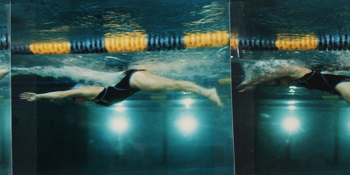"John Raimondi, Athleta Photo Study - swimmer. series of 5, color photograph, 1990, 3½ × 19"""