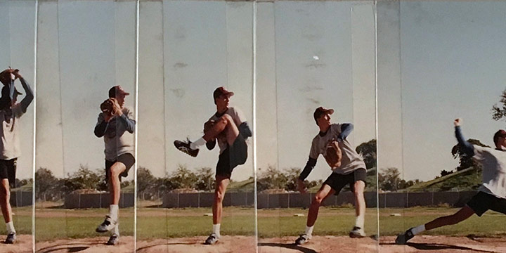 John Raimondi, Athleta Photo Study - pitcher, series of 12, color photograph, 1990